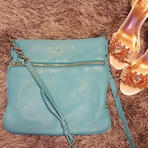 Lovely Kate Spade Crossbody Teal with Gold Chain